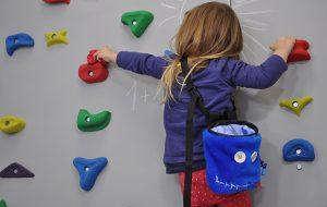 dziewczynka podczas zajęć na ściance wspinaczkowej wykonuje ćwiczenia