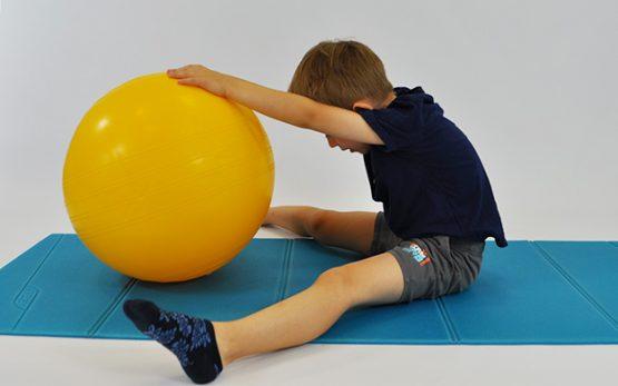 dziecko siedzi w siadzie rozkrocznym, tułów wyprostowany, miedzy nogami piłka. Dziecko toczy piłkę jak najdalej w przód